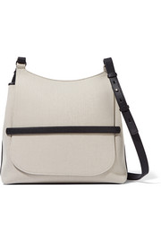 Sideby textured leather-trimmed canvas shoulder bag