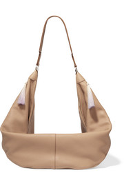 The Sling horse hair-trimmed textured-leather shoulder bag
