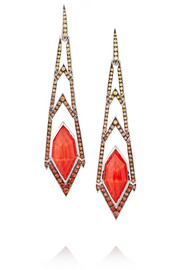 Lady Stardust Crystal Haze 18-karat white gold, coral and sapphire earrings