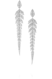 Magnipheasant 18-karat rhodium-plated white gold diamond earrings
