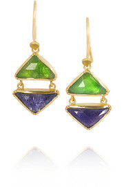 18-karat gold, tsavorite and tanzanite earrings