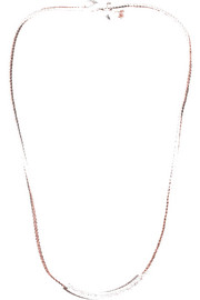 Oxidized sterling silver, 14-karat rose gold and diamond necklace