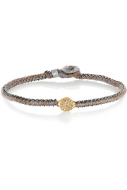 14-karat gold, oxidized sterling silver and diamond bracelet