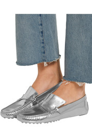 Gommino metallic leather loafers