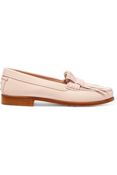 Tod's - Fringed Leather Loafers - Blush