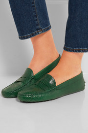 Tod's Gommino lizard-effect leather loafers