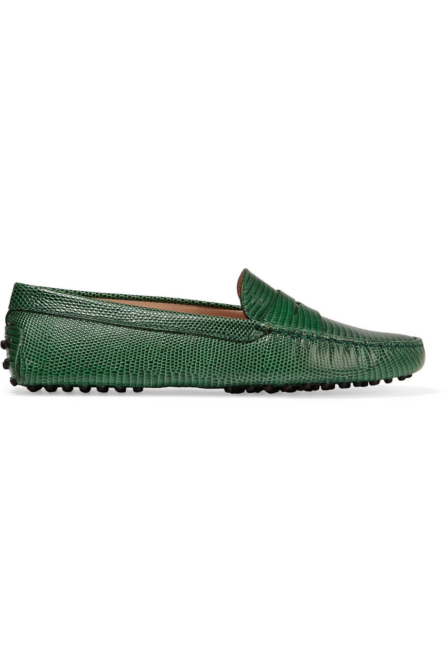 Tod's Gommino Lizard-Effect Leather Loafers, Forest Green, Women's US Size: 5.5, Size: 36