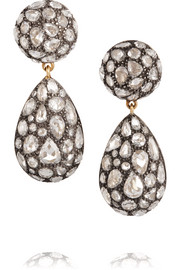 Fred Leighton Collection 18-karat gold and sterling silver diamond drop earrings
