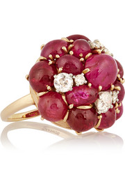 1980s 18-karat gold, ruby and diamond ring