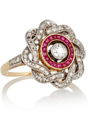 Fred Leighton Edwardian gold, diamond and ruby ring