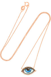 Small Tu Es Partout 14-karat rose gold, diamond and enamel necklace