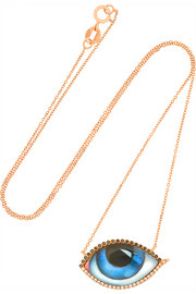 Large Tu Es Partout 14-karat rose gold, diamond and enamel necklace