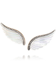 Wing 18-karat gray gold, diamond and mother-of-pearl earrings