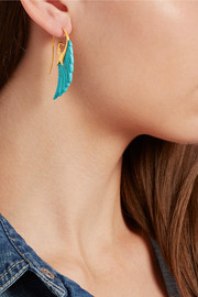 Wing 18-karat gold turquoise earrings