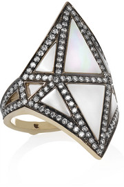 Nellum 18-karat gray gold, diamond and mother-of-pearl ring