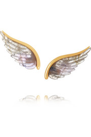 Wing 18-karat gold labradorite earrings