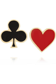 Heart & Club 14-karat gold enamel earrings