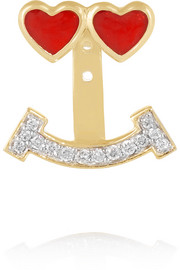 Lovestruck 14-karat gold, enamel and diamond earring