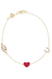 Eye Heart U 14-karat gold, diamond and enamel bracelet