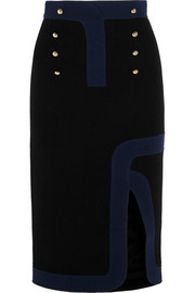 Track two-tone wool-crepe pencil skirt
