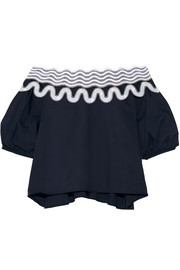Peter Pilotto Pallas off-the-shoulder embroidered cotton-blend top