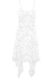 Asymmetric printed silk-georgette midi dress
