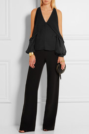 Cutout silk-chiffon and crepe de chine top