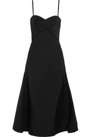 Cutout tech-jersey midi dress