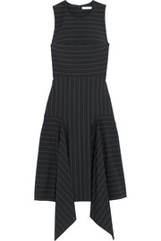 Asymmetric pinstriped stretch-cady dress