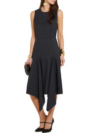 Dion Lee Asymmetric pinstriped stretch-cady dress