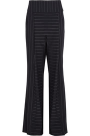 Pinstriped stretch-cady wide-leg pants