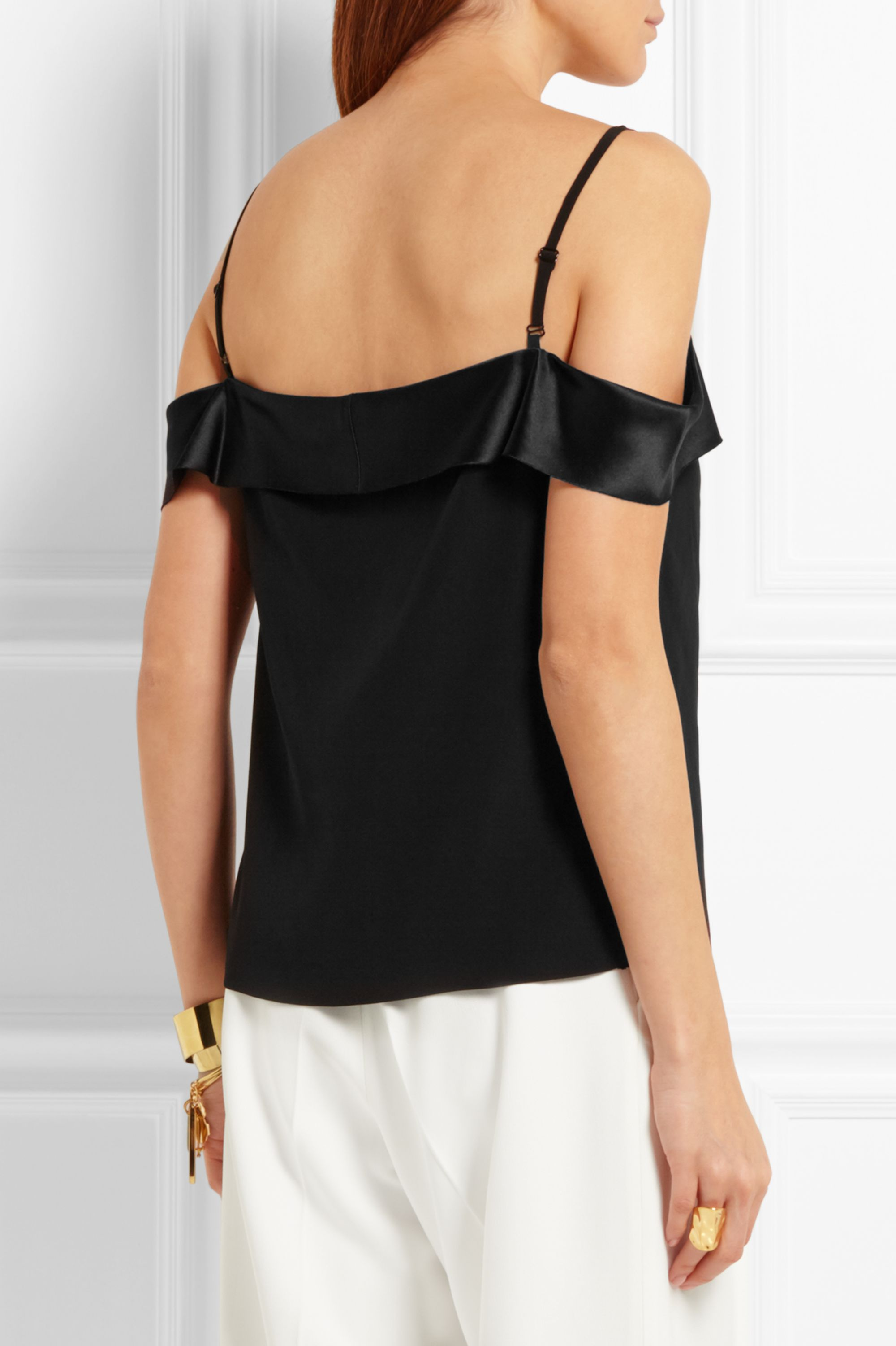 Dion Lee Off-the-shoulder silk-satin camisole