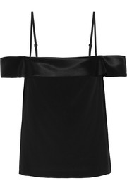 Off-the-shoulder silk-satin camisole