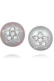 Carolina Bucci Superstellar 18-karat white gold, pearl and diamond earrings