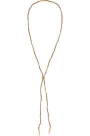 Superstellar 18-karat rose gold and silk necklace