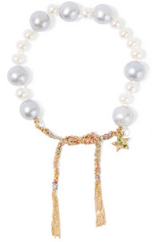 Carolina Bucci Superstellar 18-karat gold and silk multi-stone bracelet