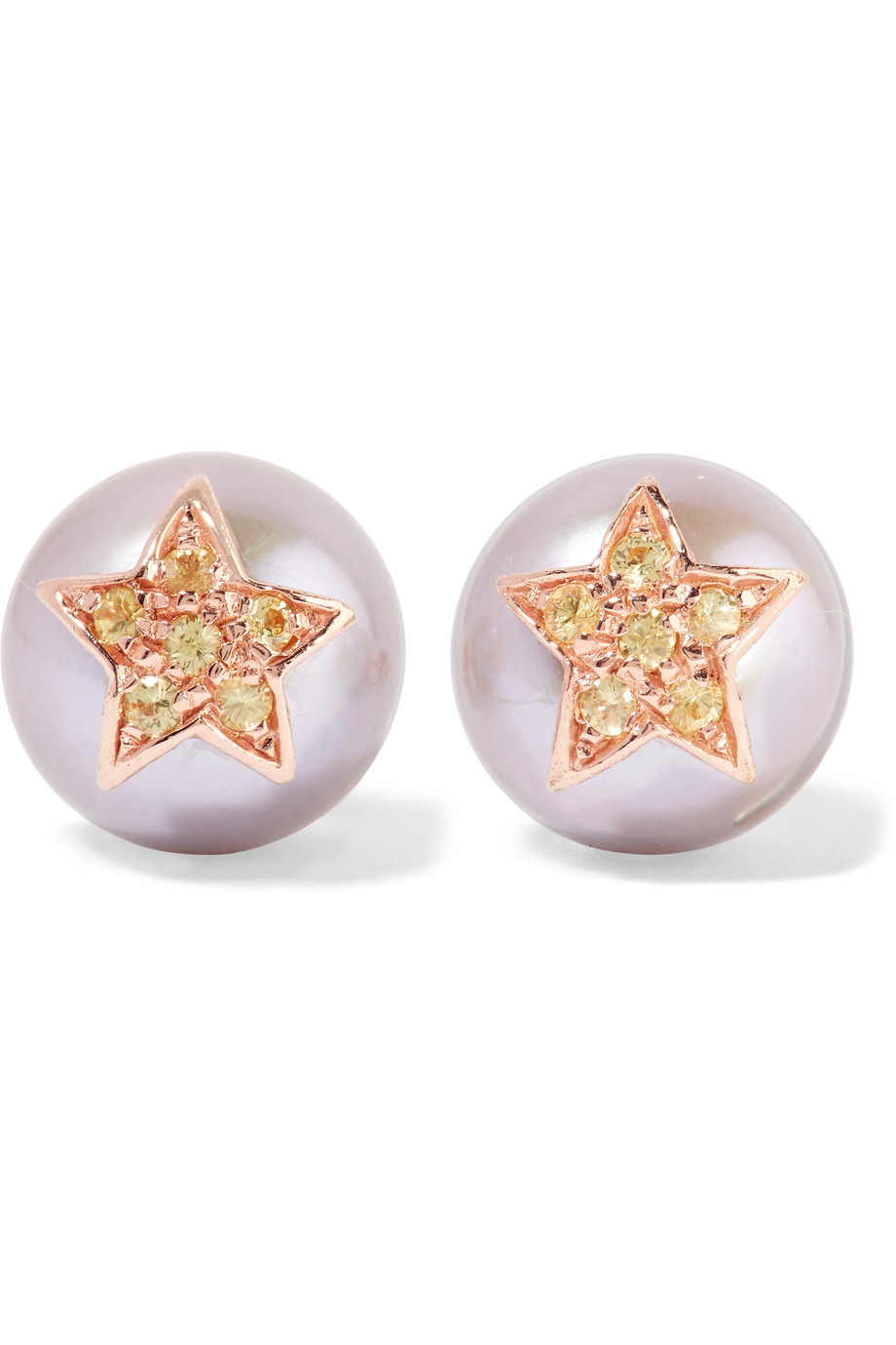 Carolina Bucci 18-Karat Rose Gold, Pearl and Sapphire Earrings, Rose Gold/White, Women's