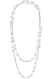 Carolina Bucci Superstellar 18-karat white gold and silk multi-stone necklace