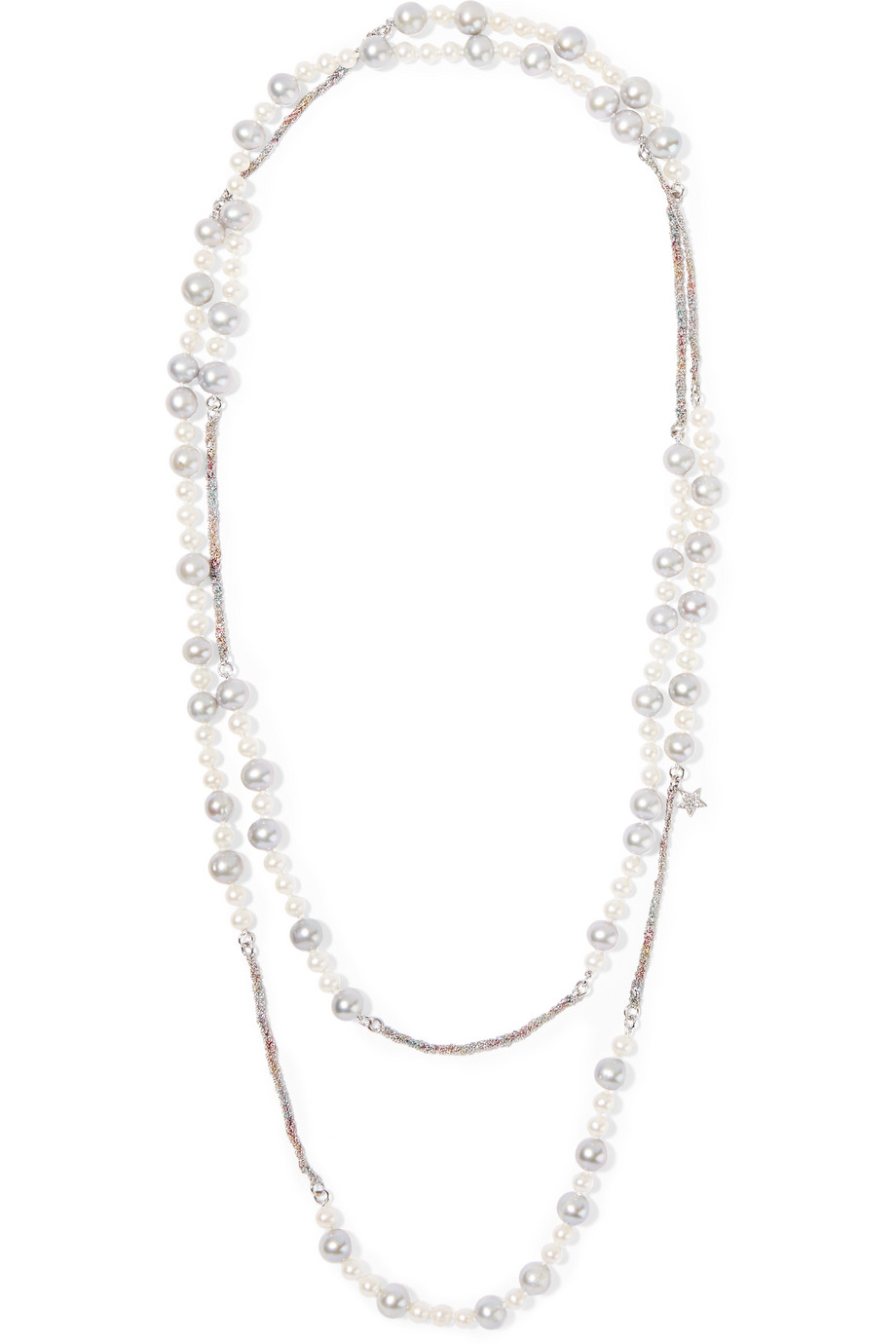 Carolina Bucci Superstellar 18-Karat White Gold and Silk Multi-Stone Necklace, White Gold/White, Women's