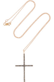 Ileana Makri Cross 18-karat rose gold diamond necklace