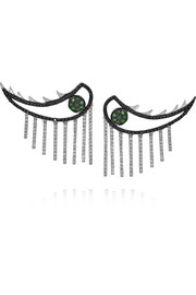 Weeping Eyes 18-karat white gold, diamond and tsavorite earrings