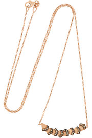 Rombus 18-karat rose gold diamond necklace