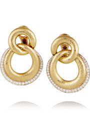 18-karat gold, platinum and diamond clip earrings