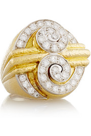 Double Scroll 18-karat gold, platinum and diamond ring