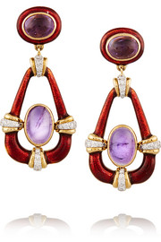 18-karat gold multi-stone clip earrings