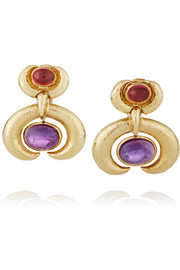 Crescent 18-karat gold, amethyst and rhodolite clip earrings
