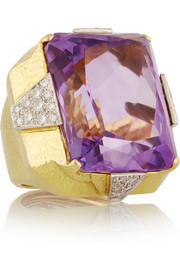 18-karat gold, platinum, amethyst and diamond ring