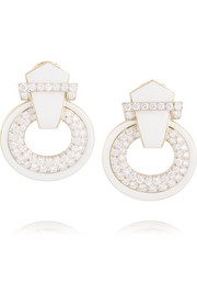 Doorknocker 18-karat gold, platinum, enamel and diamond clip earrings