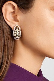The Vreeland Zebra 18-karat gold, platinum, enamel and diamond clip earrings