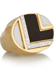18-karat gold, platinum, diamond and enamel ring